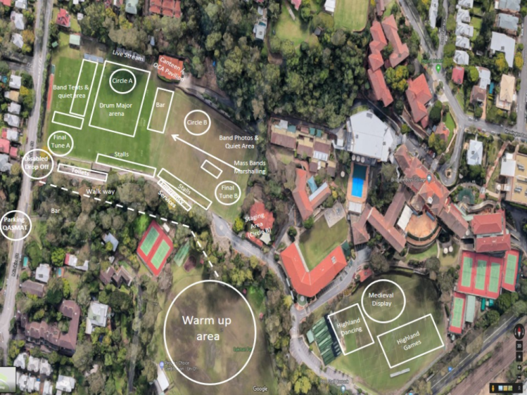 Aus champs - grounds layout